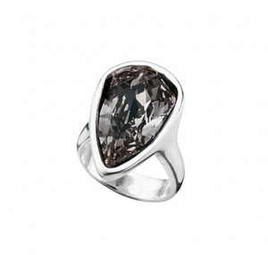 Strut Unode50 Silver Plated Peacock Shaped Gray Swarovski Ring 0578GRSMTL