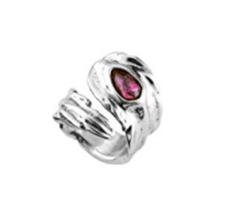 Look At Me Feather Shape Silver Plated Purple Swarovski Ring ANI0579MORMTL