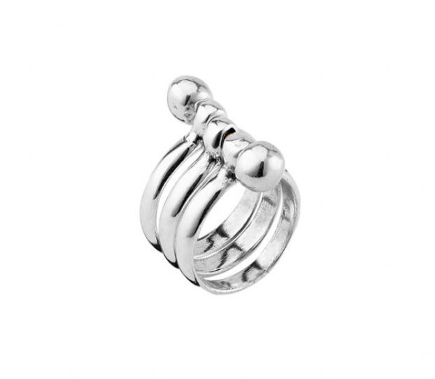 Seriously Unode50  Three Rings Pieces Silver Plated Ring ANI0575MTL000