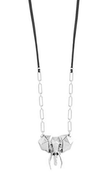 Afrowacko Unode50 Black Leather Silver Plated Geometric Elephant Necklace COL1148MTLNGR0U