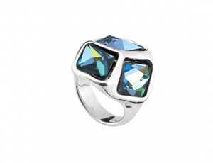 Cube Cubed Unode50 Sahara Blue Swarovski Silver Plated Ring ANI0541AZUMTL