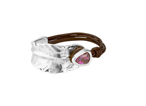 Mad about Love Unode50 Brown Leather Purple Swarovski Bracelet PUL1780RSAMAR0M