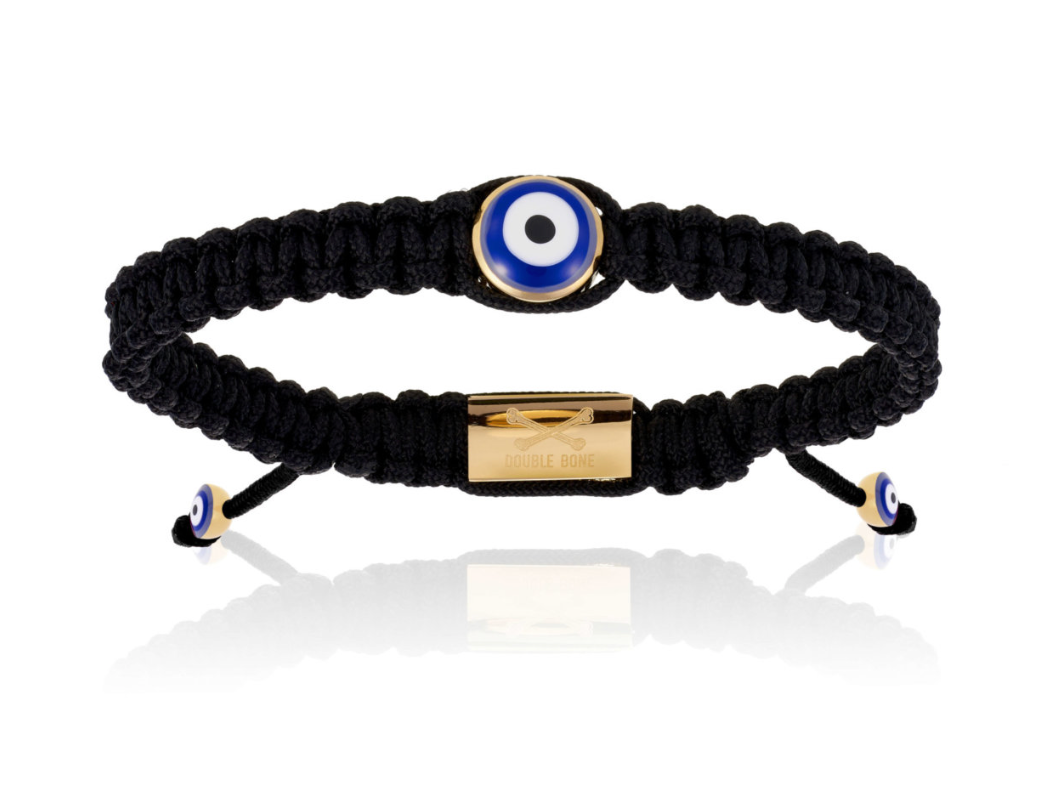 Black Nylon Bracelet with 18K Gold Evil Eye