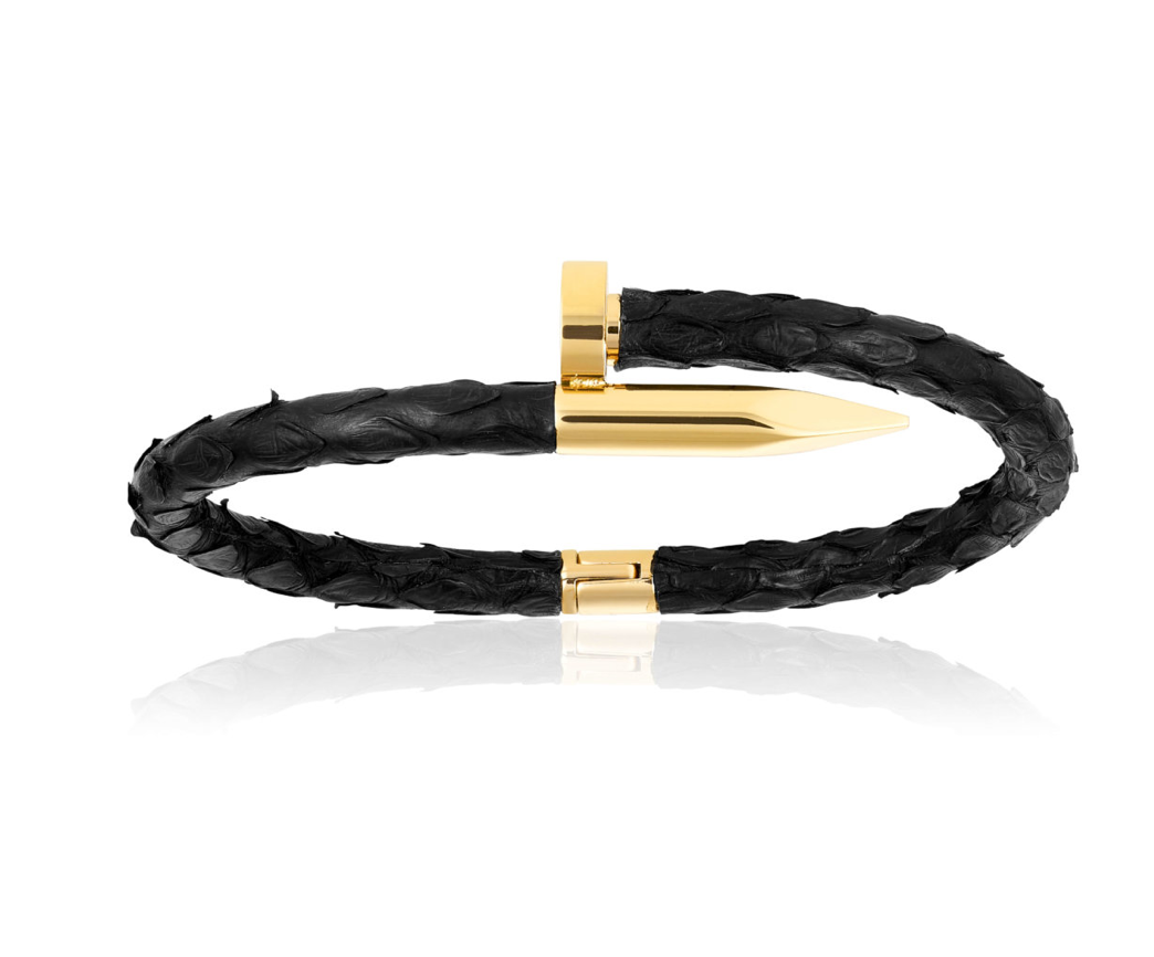 Black Python Bracelet With Yellow Gold Nail