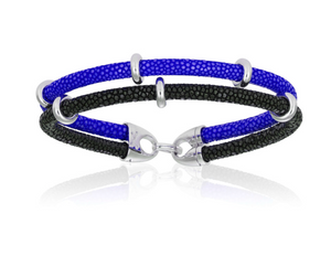 Blue / Black Stingray bracelet with silver beads