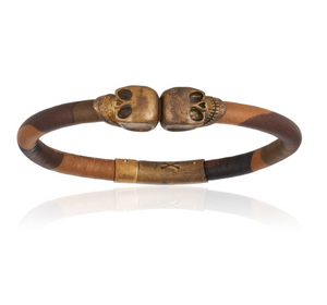 Camouflage Leather Bracelet With Antique Brass Skull