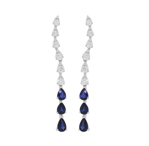 Long Blue Sapphire and Diamond Earrings