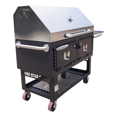 "24"" x 48"" Adjustable Charcoal Grill & Smoker"