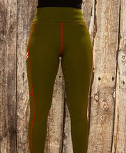 NEW Contrast Leggings - Khaki/Red