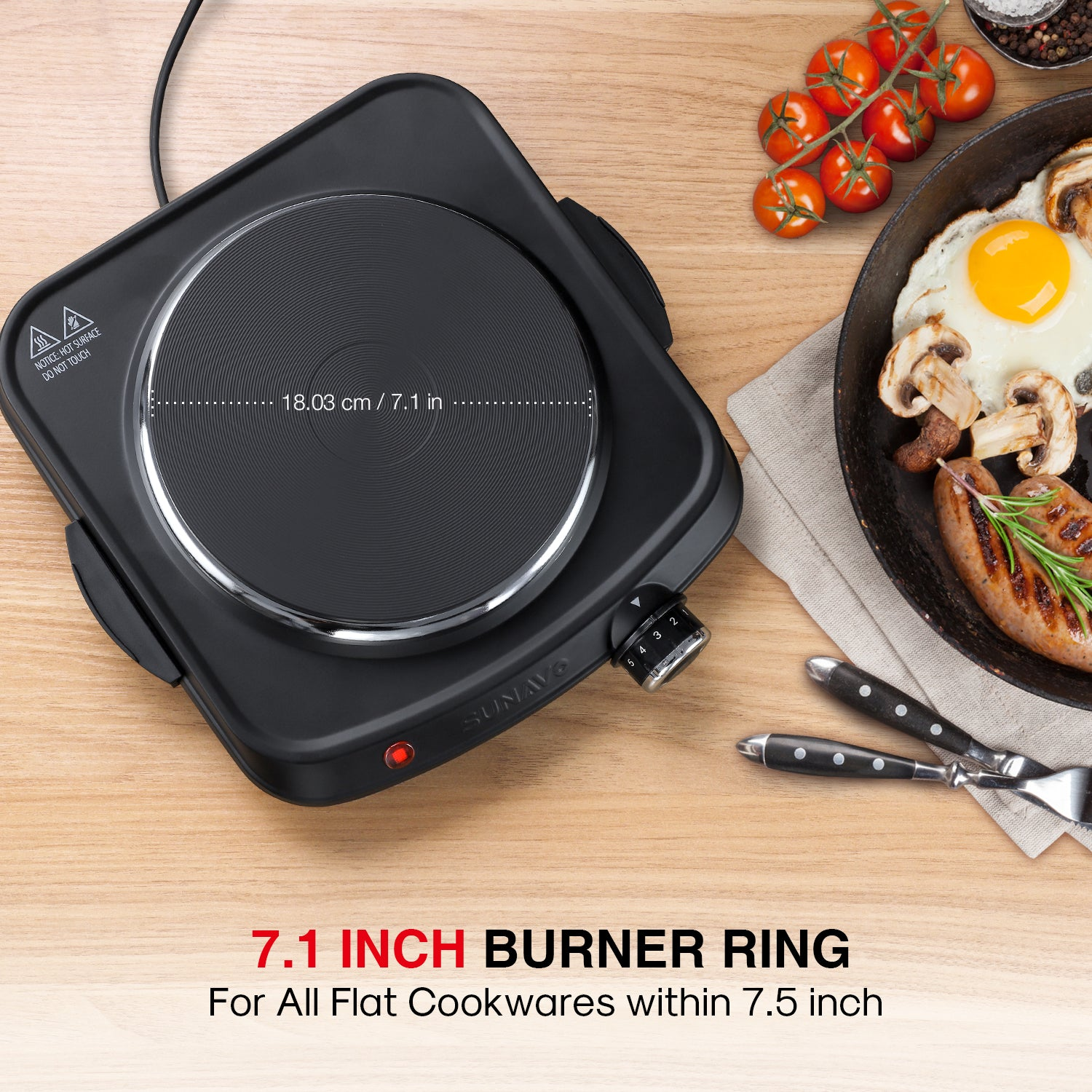 SUNAVO Single Hot Plate Cast-Iron with Handles CB-H21 Black