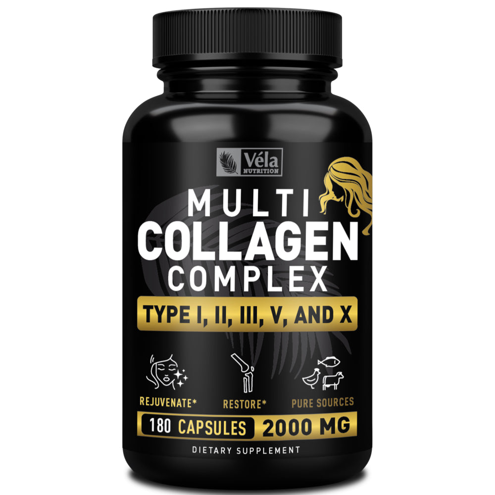 Véla Nutrition Multi Collagen Pills <span>Types Ⅰ, Ⅱ, Ⅲ, Ⅴ &amp; Ⅹ - Hydrolyzed Collagens</span><span> 2000mg | 60 Servings</span>