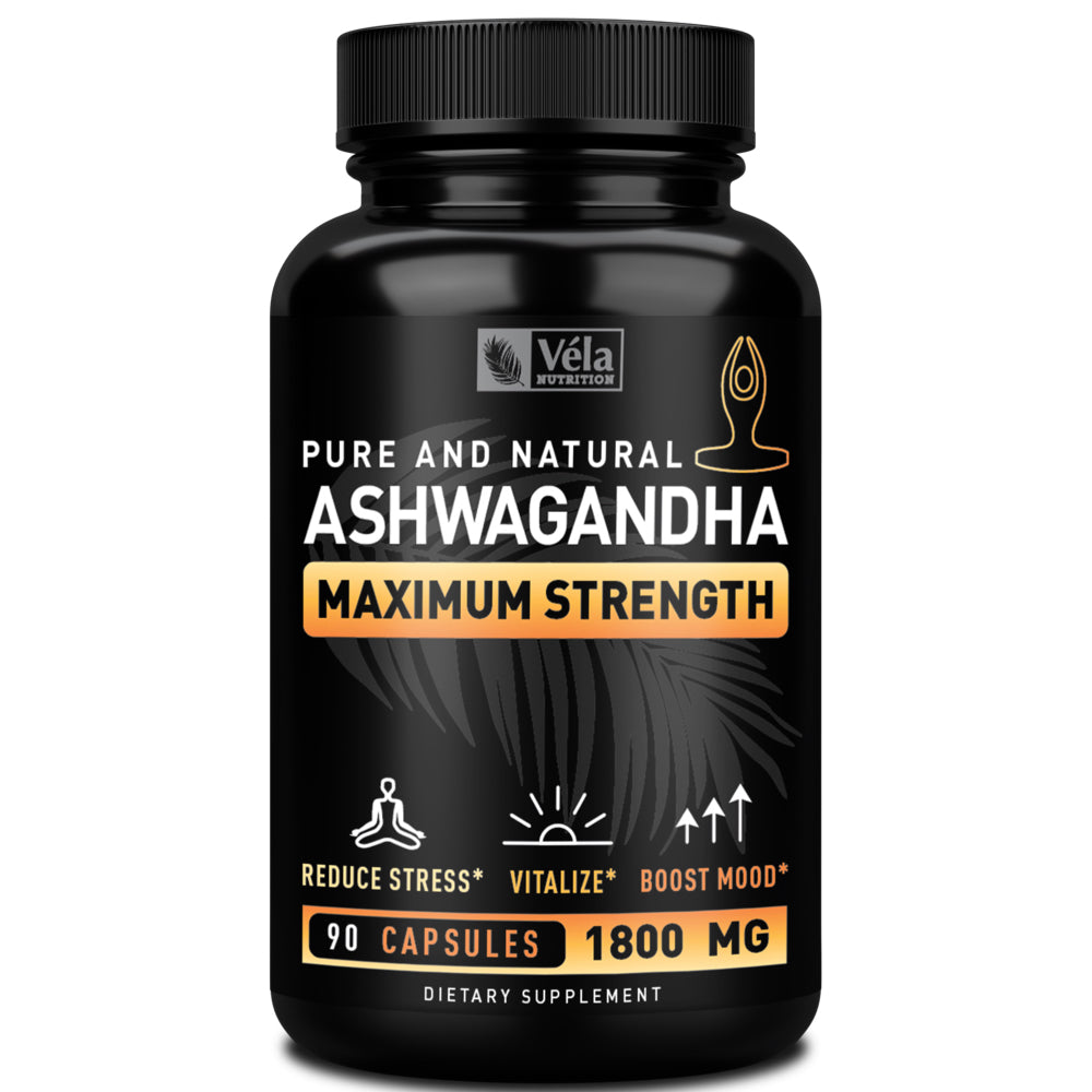 Véla Nutrition Organic Ashwagandha Capsules <span>Maximum Strength Formula</span><span> 1800mg | 30 Servings</span>