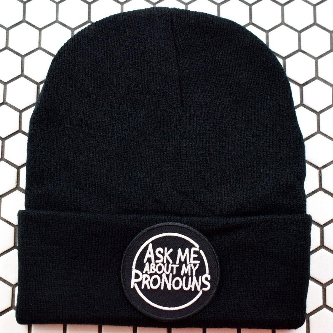 Ask Me Pronouns Patch Beanie- Pack of 3