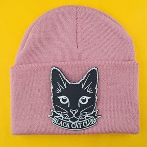 Black Cat Club Patch Beanie | Extreme Largeness Wholesale