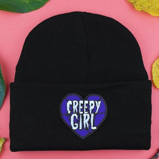 Creepy Girl Patch Beanie - Pack of 3