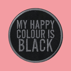 MY HAPPY COLOUR IS BLACK PATCH - PACK OF 6