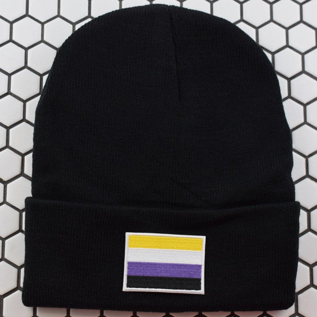 Non-Binary Flag Patch Beanie - Pack of 3 - Extreme Largeness Wholesale