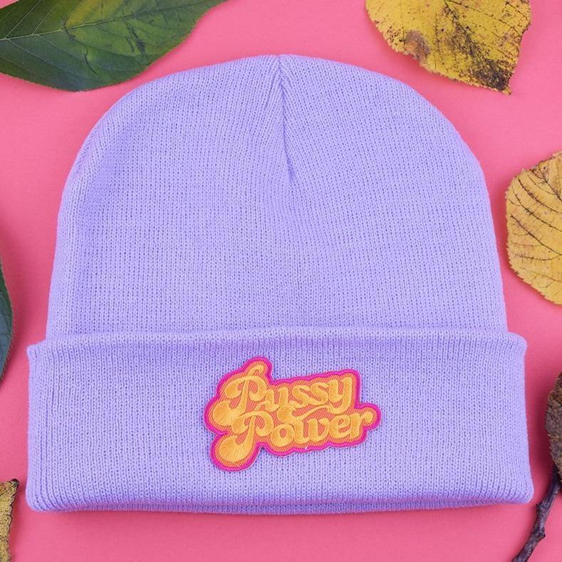 Pussy Power Patch Lilac Beanie - Pack of 3 - Extreme Largeness Wholesale