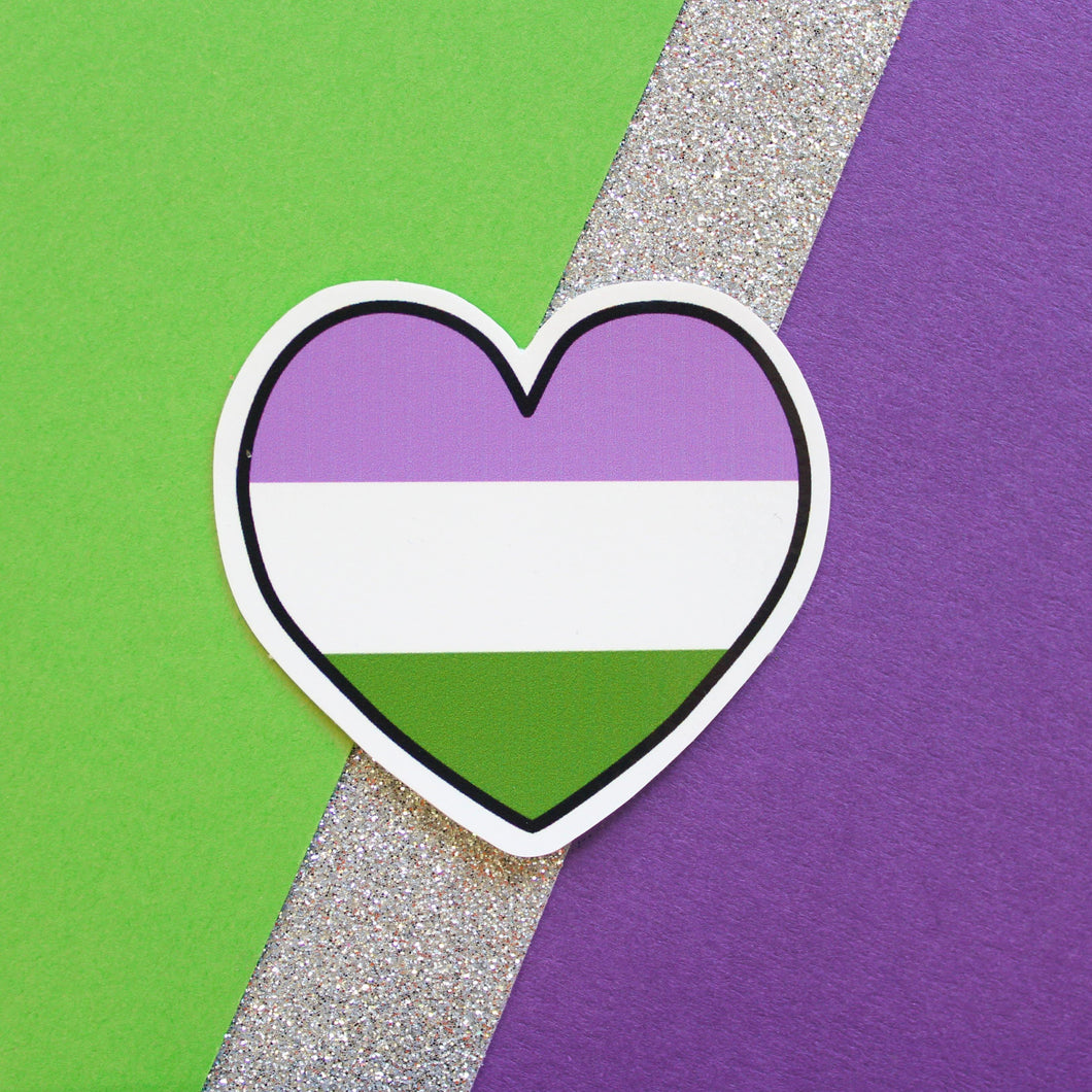 GENDERQUEER HEART STICKER - PACK OF 3