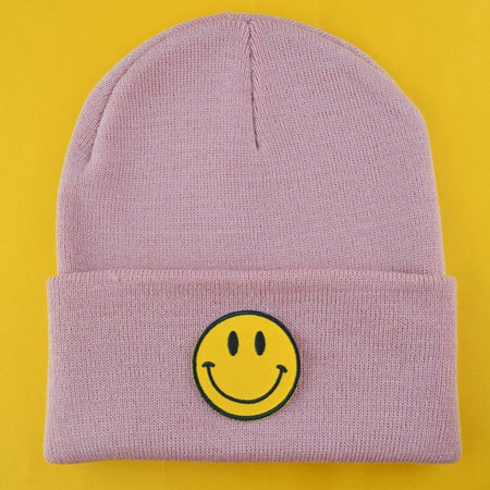Smiley Patch Pink Beanie - Pack of 3 - Extreme Largeness Wholesale
