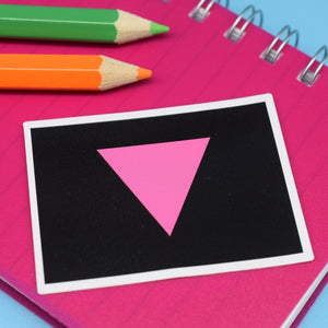 PINK TRIANGLE FLAG STICKER - PACK OF 3