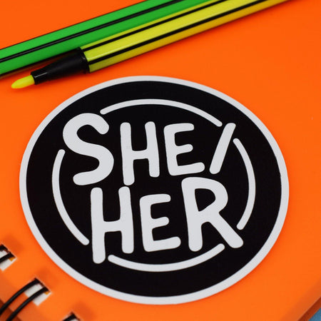 SHE/HER CIRCLE STICKER - PACK OF 3