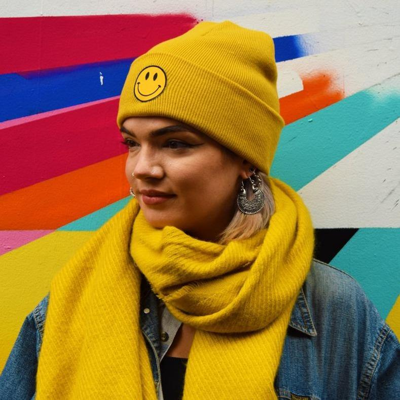 Smiley Patch Mustard Beanie - Extreme Largeness Wholesale