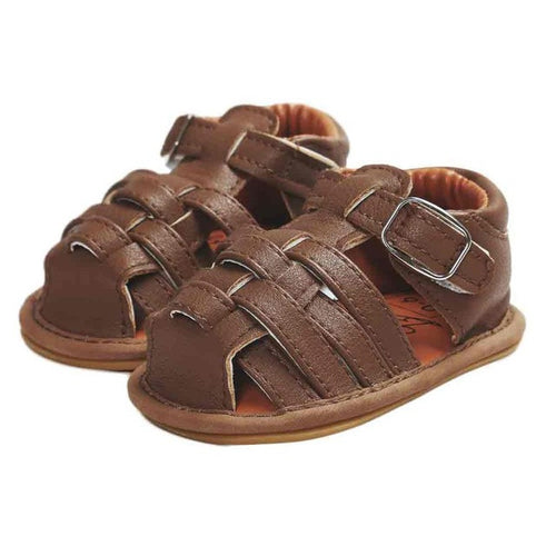 Baby Boys Closed-Toe Sandals (Dark Brown, Light Brown Blue or White)
