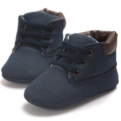 Baby Boys Navy Blue Crib Shoes
