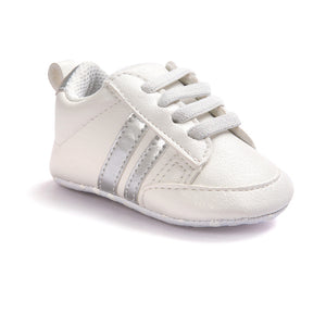 Baby Boys White & Black Leather Sports Sneakers