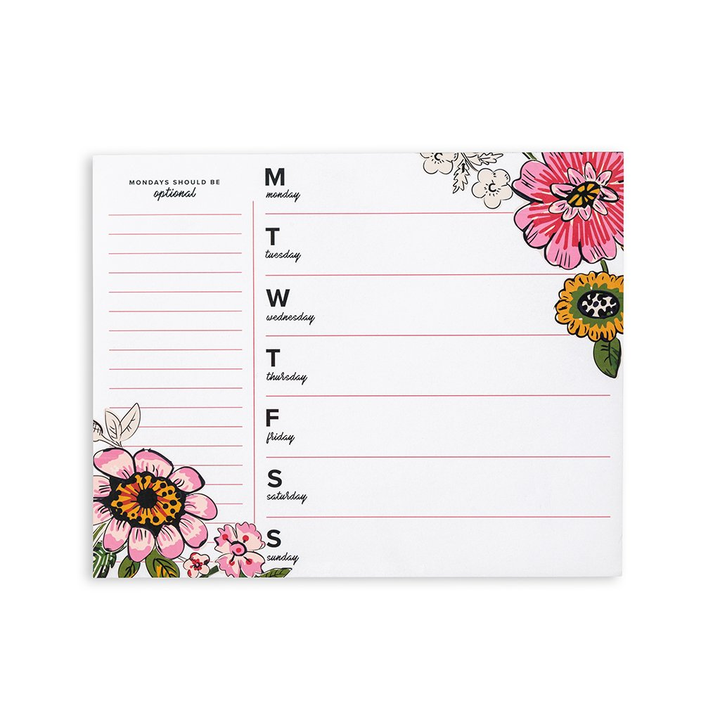 Vera Bradley Weekly To-Do Notepad - Coral Floral White