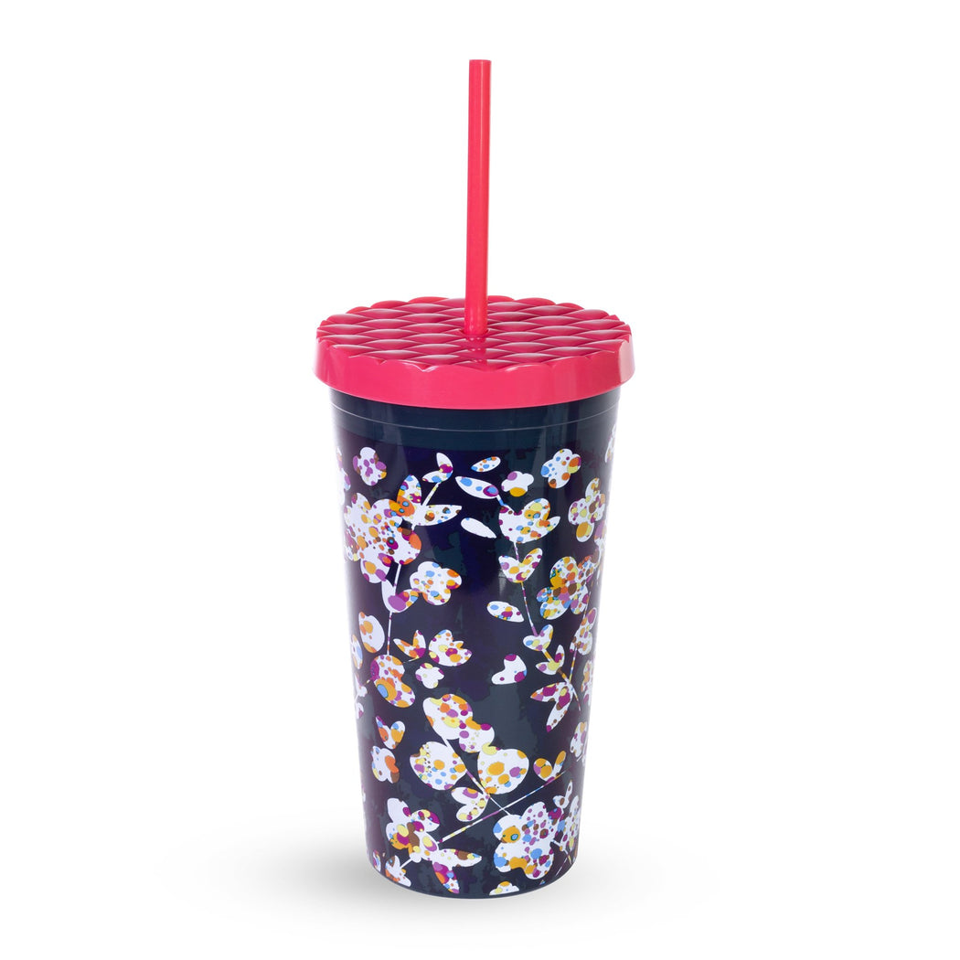 Vera Bradley Tumbler With Straw, Cut Vines