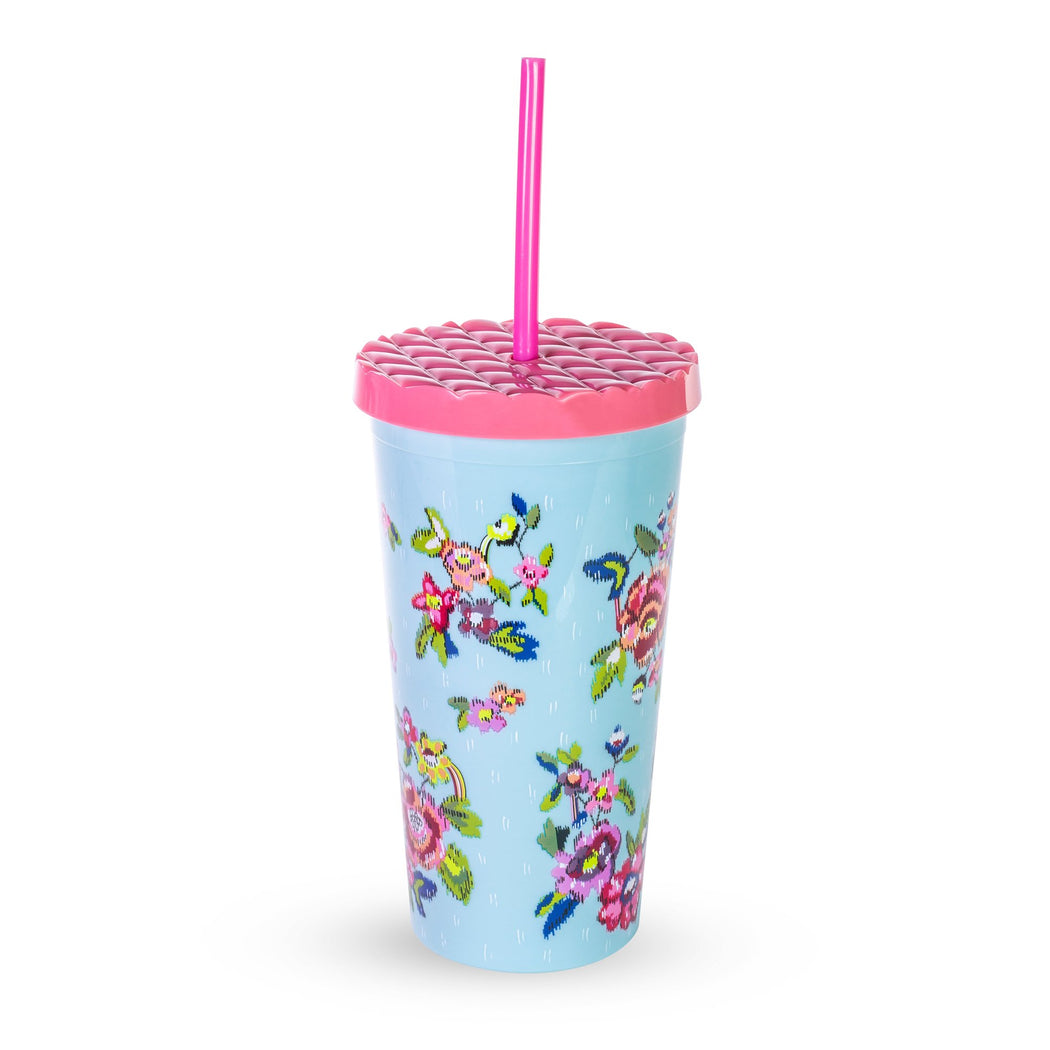 Vera Bradley Tumbler With Straw, Water Bouquet