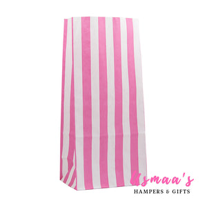 Pink Candy Stripe Paper Bags - Pack of 10 - Usmaas Hampers & Gifts