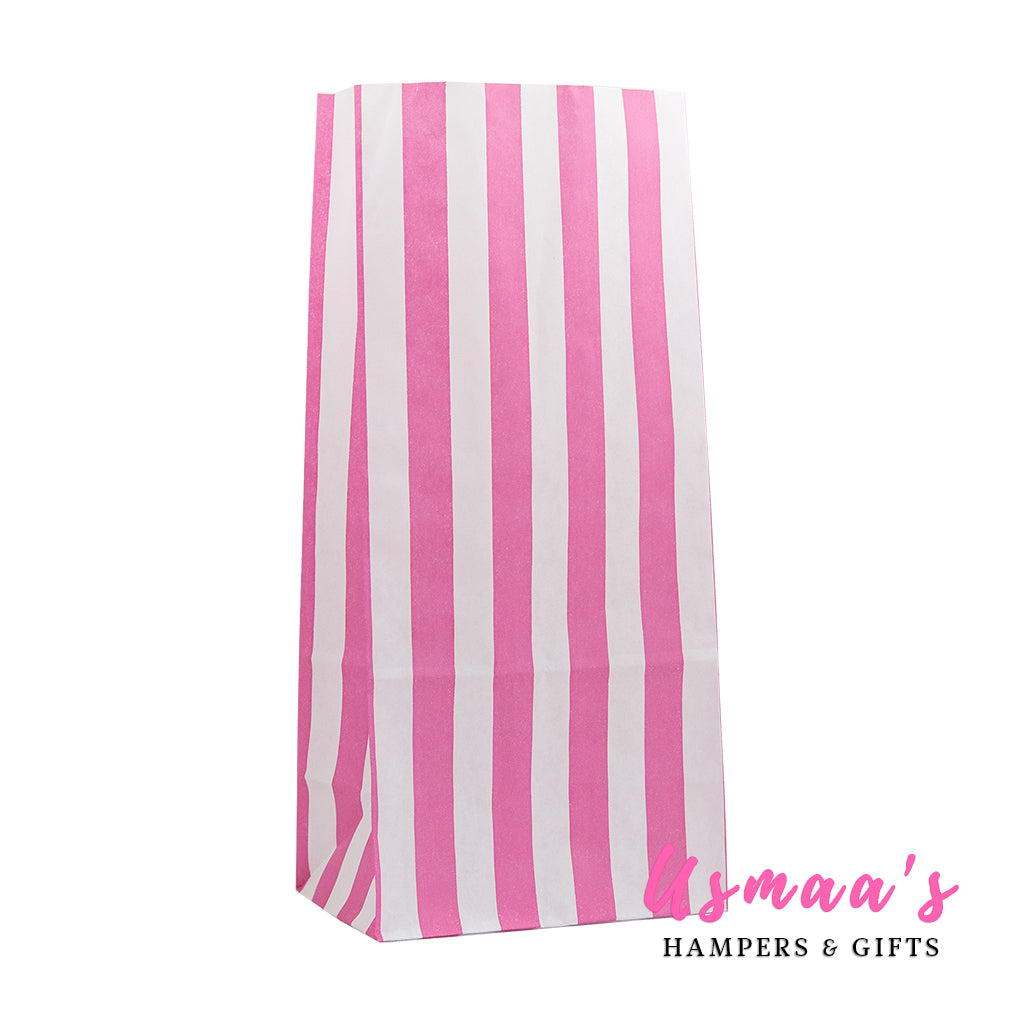 Pink Candy Stripe Paper Bags - Pack of 50 - Usmaas Hampers & Gifts