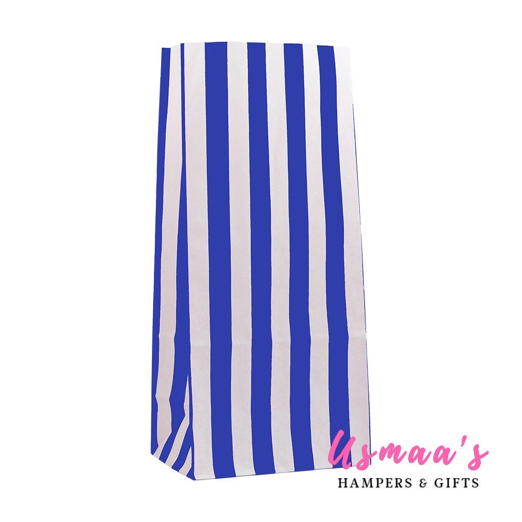 Blue Stripe Paper Bags - Pack of 50 | Usmaa's Hampers & Gifts