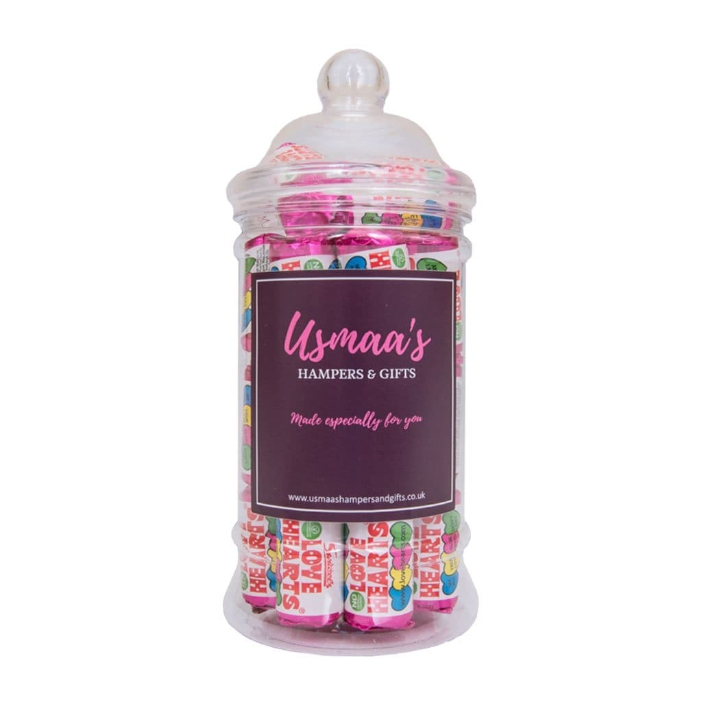 Love Hearts Sweet Jar - Usmaas Hampers & Gifts