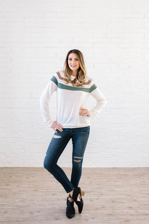 The Harlow Striped Long Sleeve Top in Cream