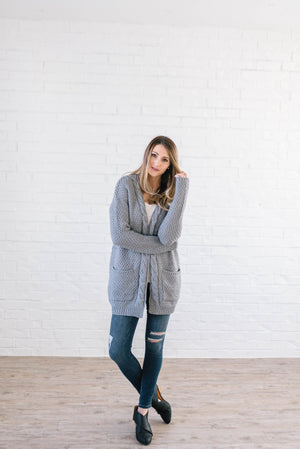 The London Cable Knit Cardi in Gray