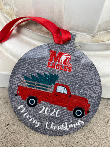 Milford Truck Ornament with Red Ribbon