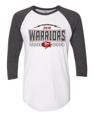 Goshen Warrior Football 3/4 sleeve raglan