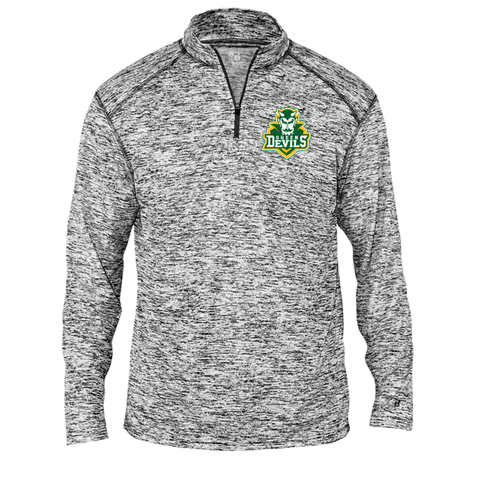 North Adams Green Devils Black Static Embroidered 1/4 Zip Up