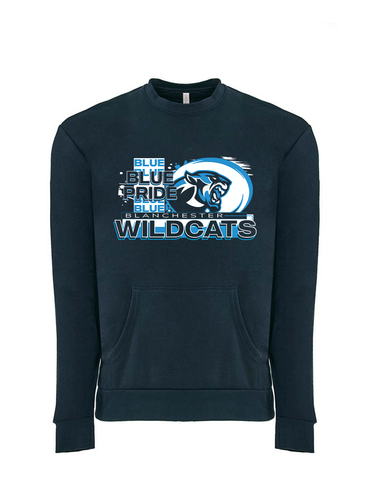 Blanchester Wildcats Blue Pride Crew neck With Pocket