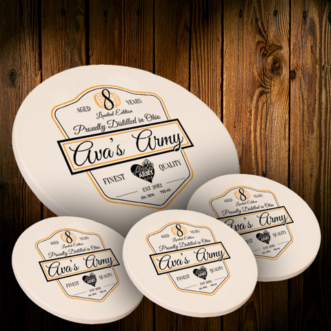 Limited Edition Avas Army Round Sandstone Coaster with Cork Backing