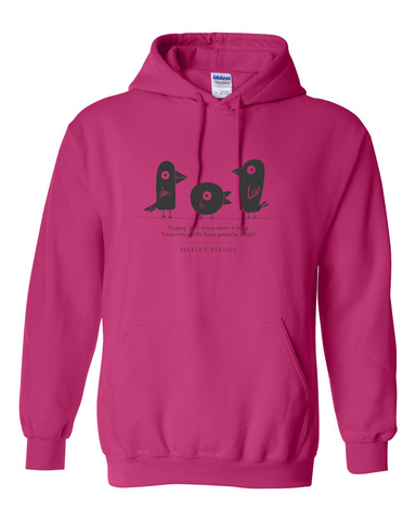 Marley Strong! Pink with Dark Gray print Hoodie