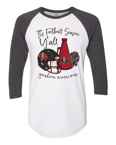 It's Football Season Y'all 3/4 sleeve raglan