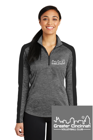 GCVC Embroidered Ladies BLK/GREY 1/4-Zip Pullover