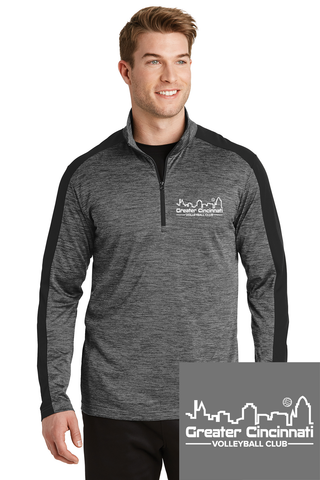 GCVC Embroidered Unisex BLK/GREY 1/4-Zip Pullover