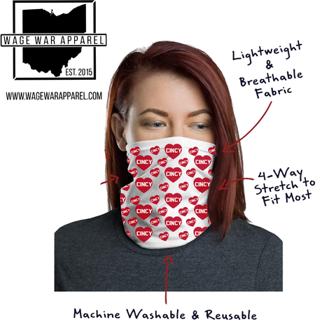 Cincy Hearts! Neck Gaiter