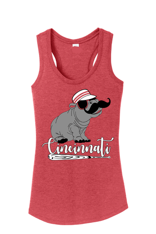 Hip Hip Hooray for Cincy Baseball Ladies Racer Tank